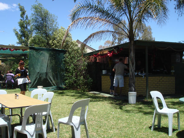 The barbecue hut/'kitchen' in the Buffalo Brewery's expansive beer garden