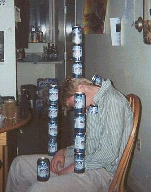 Stacking empties on a drunk mate